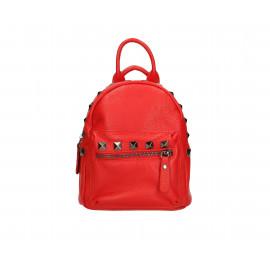 Praktický červený kožený menší batůžek bernee