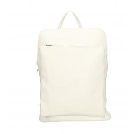 Větší moderní sněhově bílá kožená kabelka a batoh 2v1 Aveline 2v1
