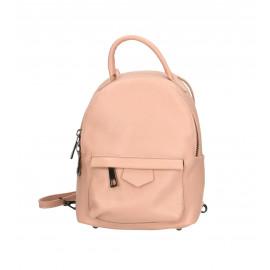 Praktický růžový kožený menší batůžek bernee three