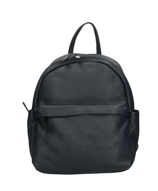 Praktický tmavě modrý kožený větší batůžek tessi