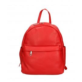 Praktický sytě červený kožený větší batůžek tessi