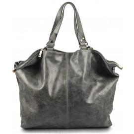 Kožená šedá velká taška na rameno neli