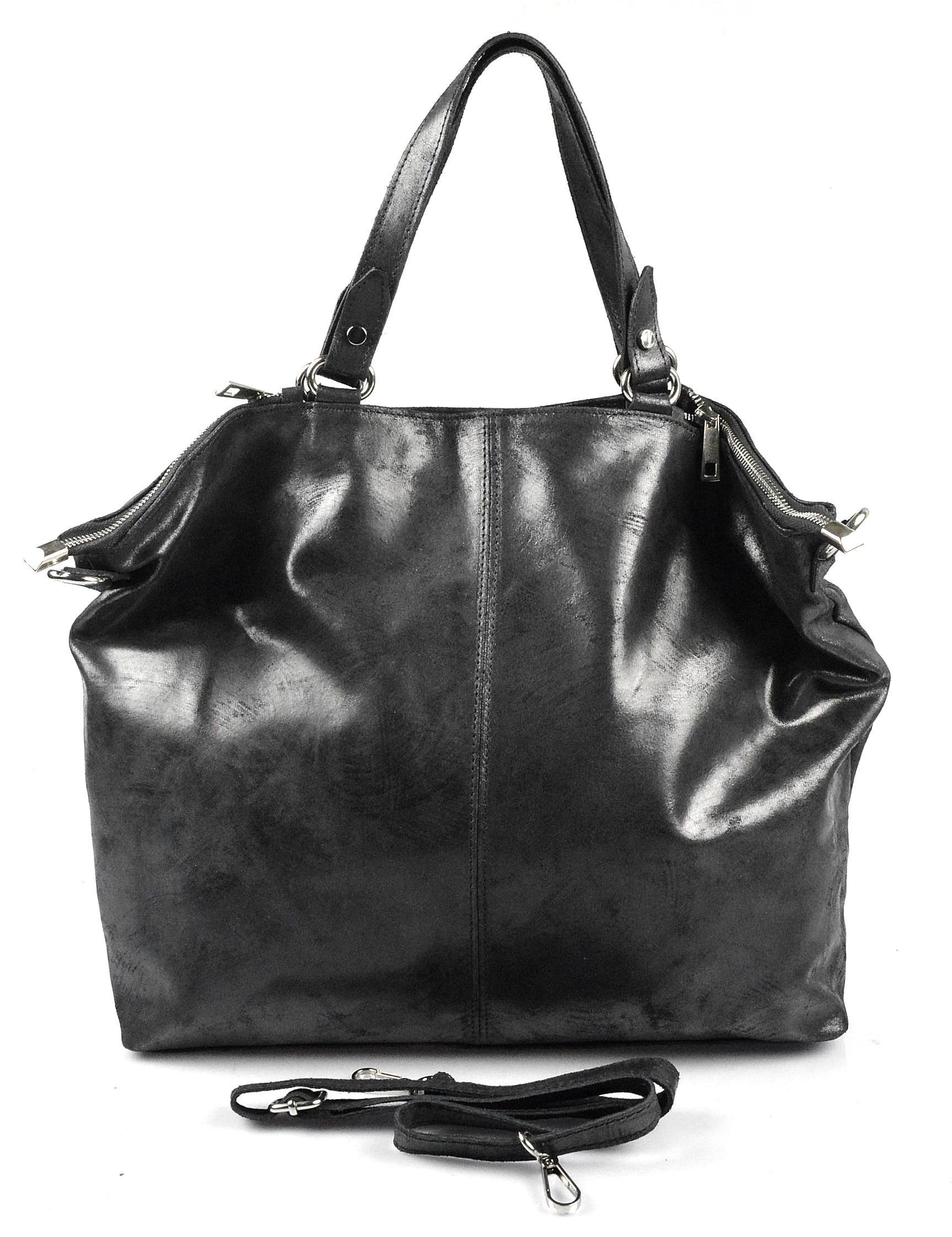 Kožená černá velká taška na rameno neli