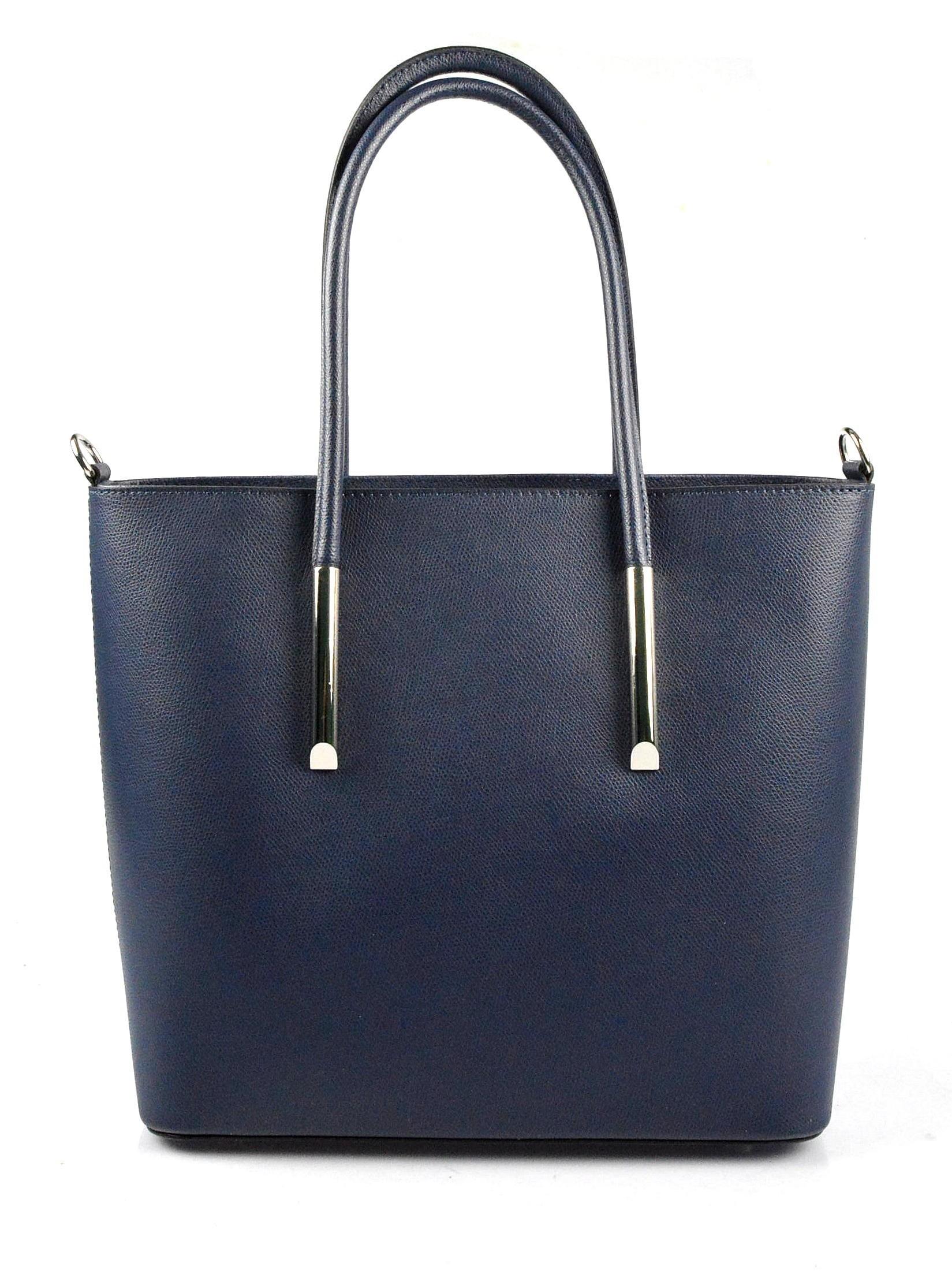 Kožená luxusní tmavě modrá kabelka přes rameno cherril
