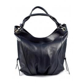 Kožená tmavě modrá velká taška na rameno adele