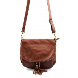 Kožená větší hnědá brown crossbody kabelka na rameno tori