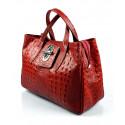 Kožená luxusní krokodýlí červená bordó kabelka do ruky lila