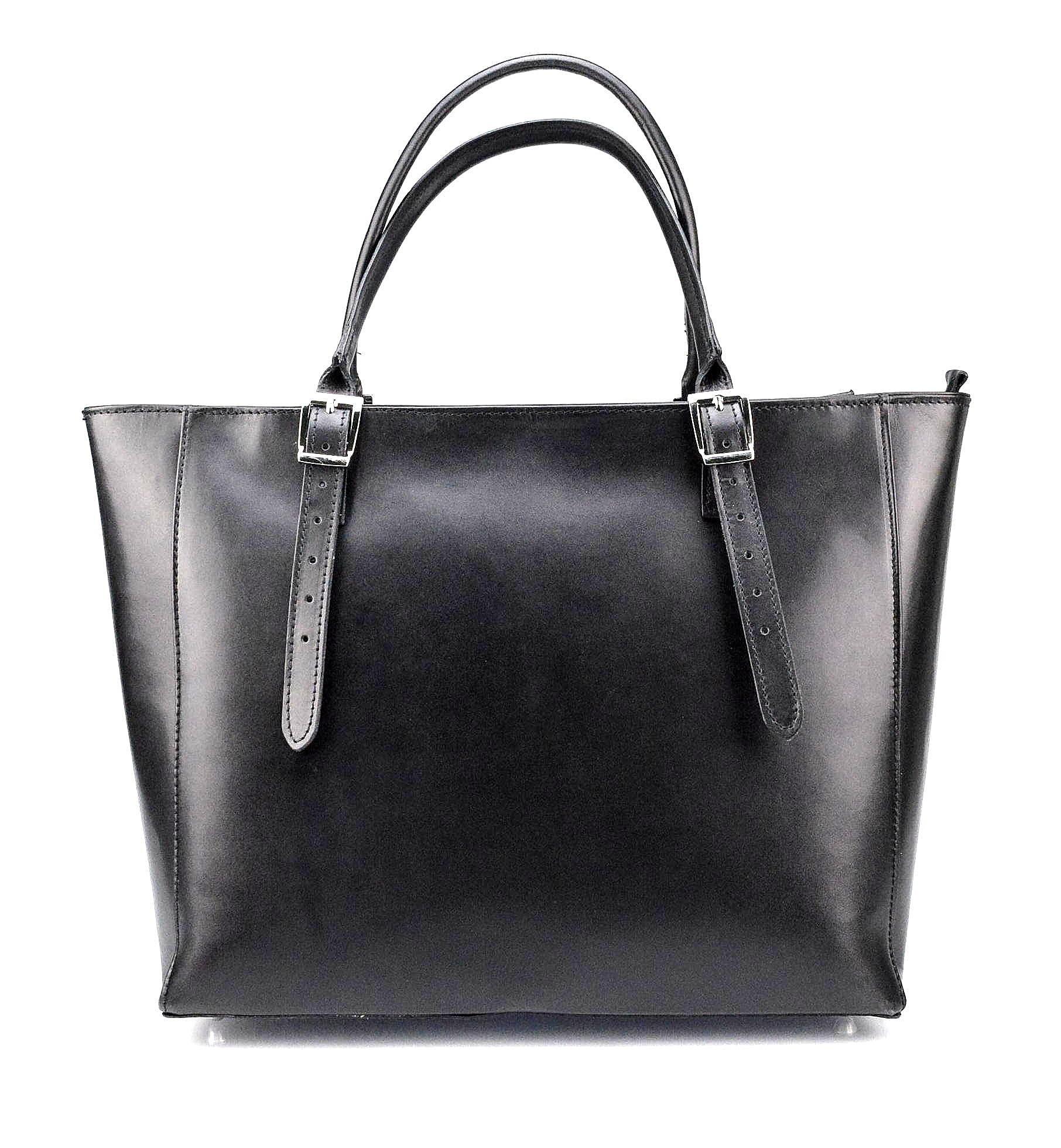 Kožená luxusní velká černá kabelka Havelan