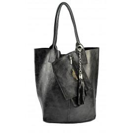 Kožená černá lesklá shopper taška na rameno melani summer
