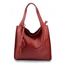 Větší moderní tmavě červená kožená kabelka přes rameno Darci Little