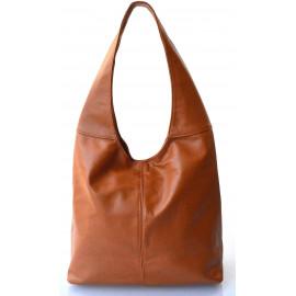 Kožená koňakově hnědá taška na rameno feris
