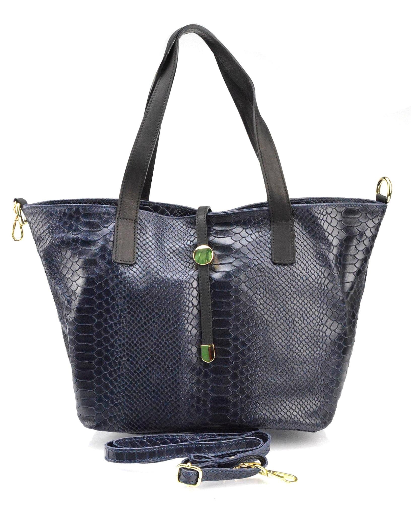 Kožená luxusní menší modrá kabelka Elen
