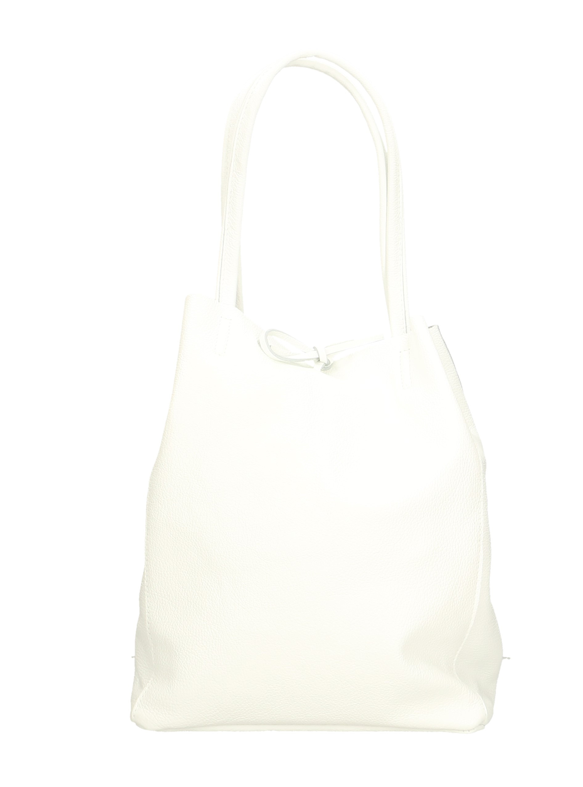 Kožená sněhově bílá shopper taška na rameno Melani Two Winter