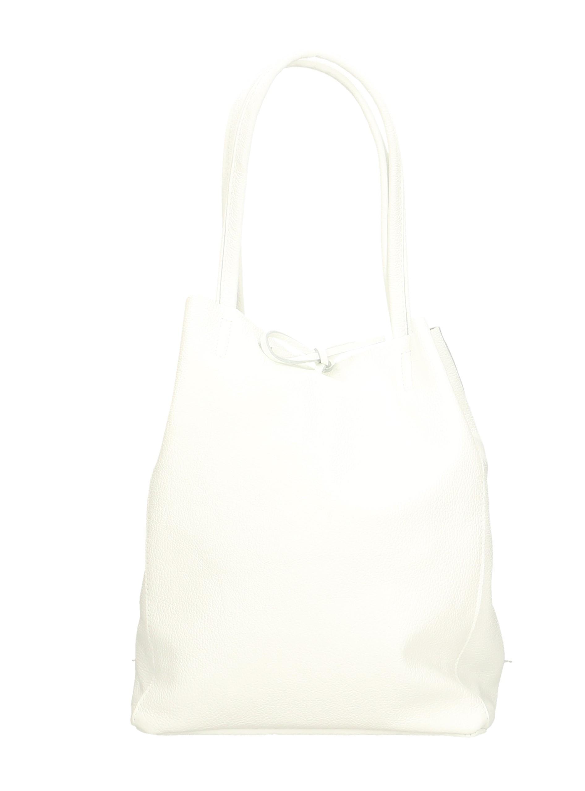 Kožená sněhově bílá shopper taška na rameno Melani Two