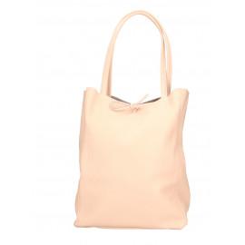 Kožená růžová shopper taška na rameno Melani Two