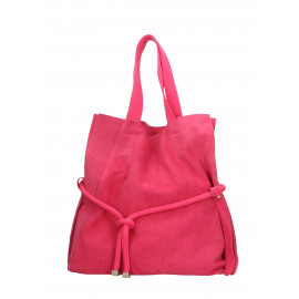 Kožená tmavší růžová velká shopper taška na rameno claudia