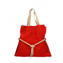 Kožená červená velká shopper taška na rameno claudia