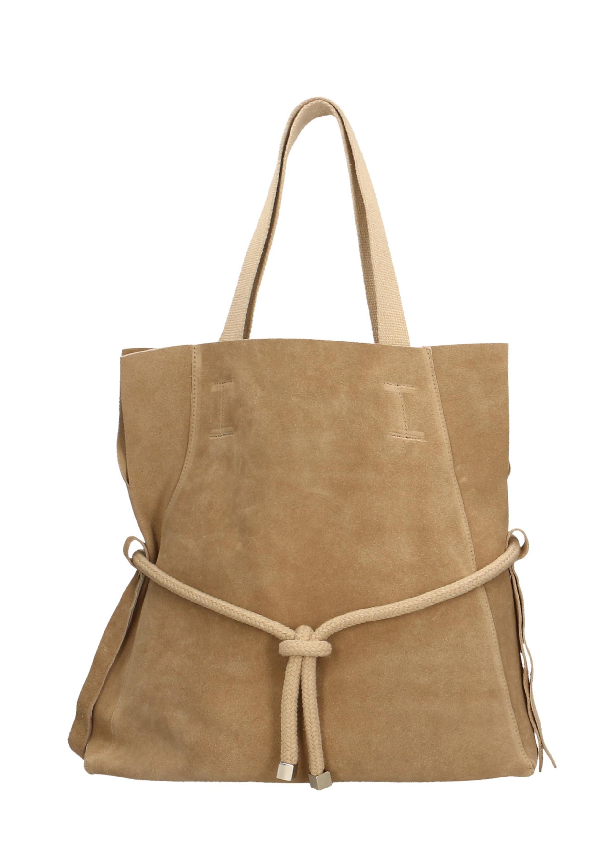 Kožená béžová taupe velká shopper taška na rameno claudia
