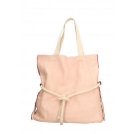 Kožená růžová velká shopper taška na rameno claudia two