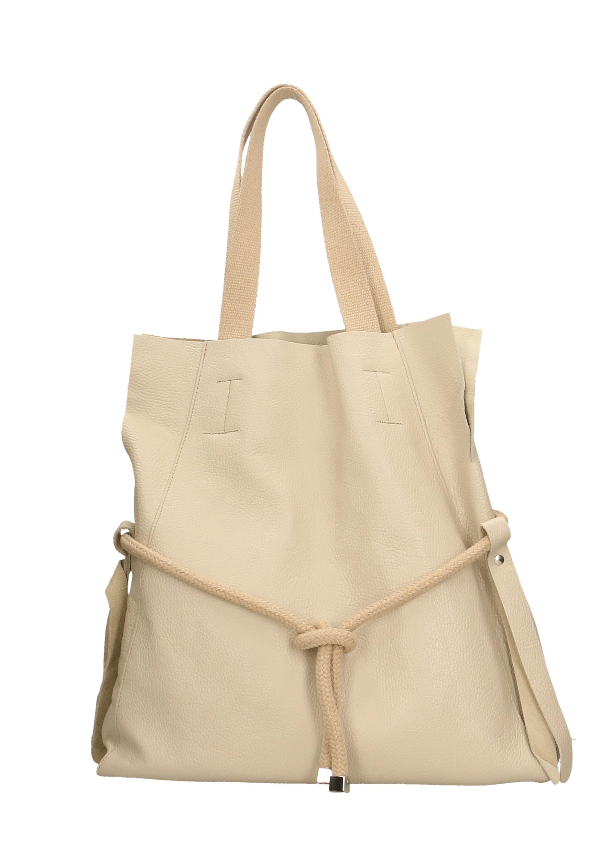 Kožená béžová beige velká shopper taška na rameno claudia two