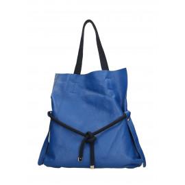 Kožená sytě modrá velká shopper taška na rameno claudia two