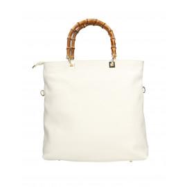 Kožená luxusní bílá shopper kabelka kabelka do ruky laura