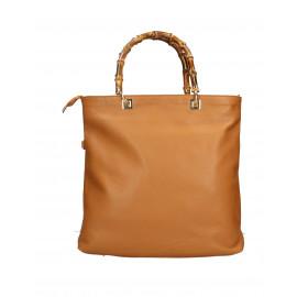 Kožená luxusní hnědá camel shopper kabelka kabelka do ruky laura