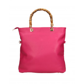 Kožená luxusní tmavší ružová shopper kabelka kabelka do ruky laura