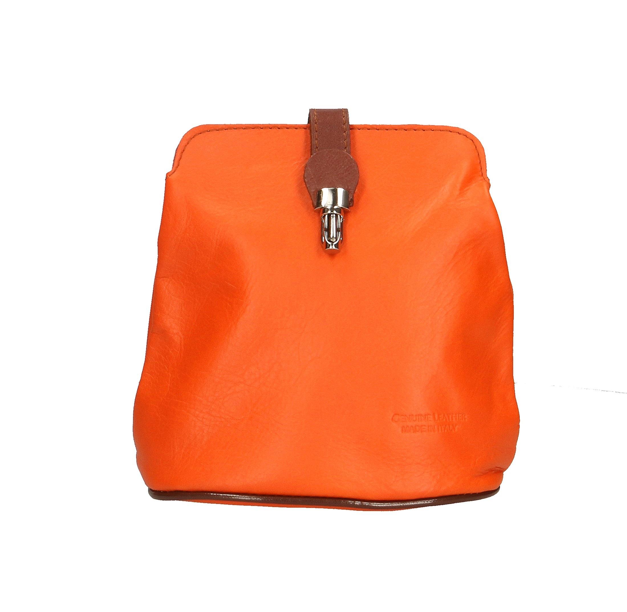 Kožená oranžová crossbody kabelka deana