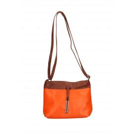 Kožená oranžová crossbody kabelka marrone