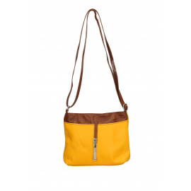 Kožená hořčicově žlutá crossbody kabelka marrone