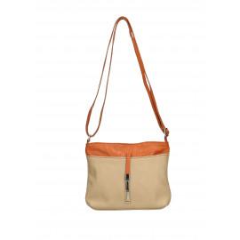 Kožená béžová taupe crossbody kabelka marrone