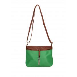 Kožená sytě zelená crossbody kabelka marrone