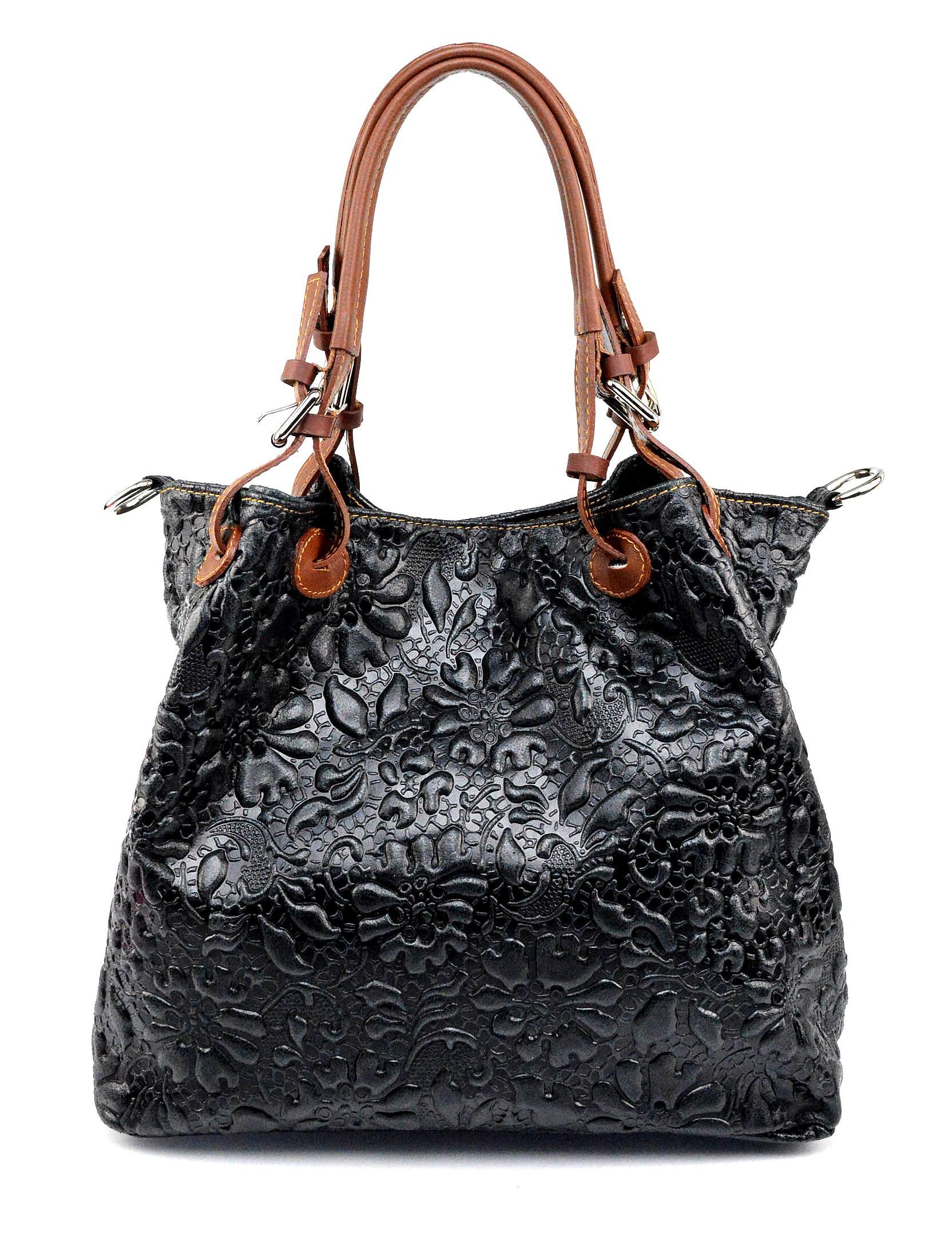 Kožená černá kabelka na rameno madeleine two