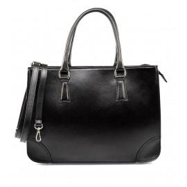 Luxusní stylová černá kožená kabelka do ruky Donna