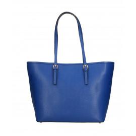 Kožená luxusní velká sytě modrá kabelka přes rameno alisane