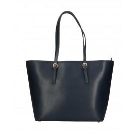 Kožená luxusní velká tmavě modrá kabelka přes rameno alisane