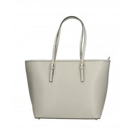 Kožená luxusní velká šedá kabelka přes rameno alisane