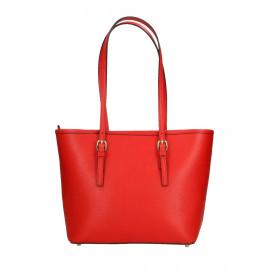 Kožená luxusní menší sytě červená kabelka přes rameno Alisane Little
