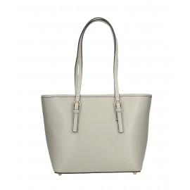 Kožená luxusní menší světle šedá kabelka přes rameno Alisane Little