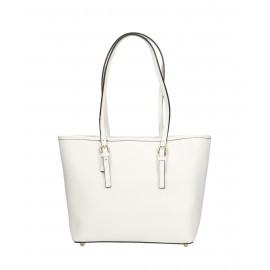 Kožená luxusní menší sněhově bílá kabelka přes rameno Alisane Little