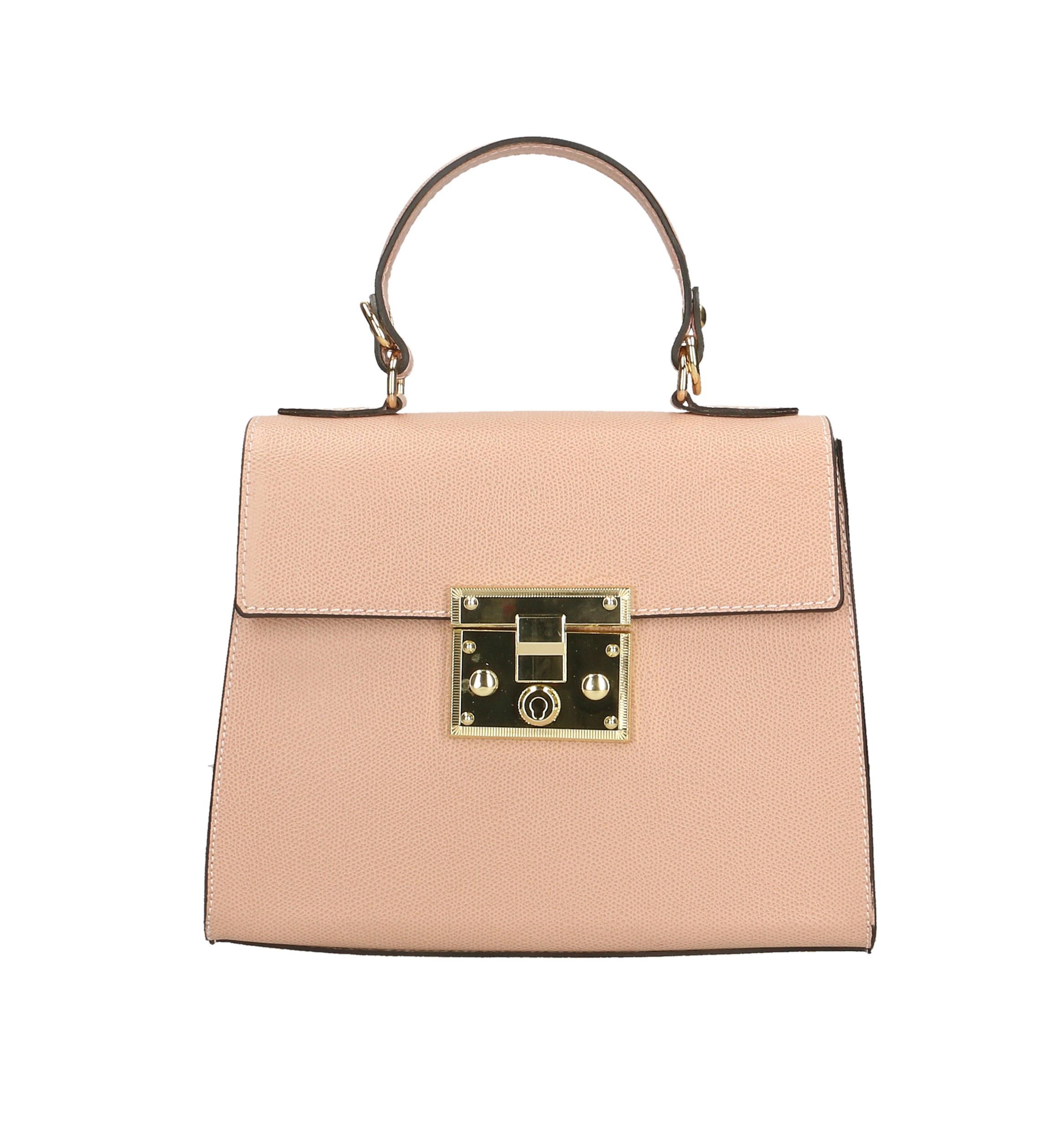 Kožená malá růžová kabelka do ruky samantha