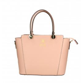 Kožená menší růžová kabelka do ruky sofia