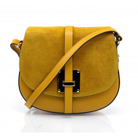 Kožená menší sytě žlutá crossbody kabelka na rameno jordane