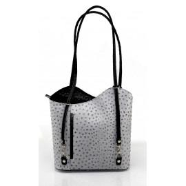 Kožená luxusní šedo černá crossbody kabelka Royal