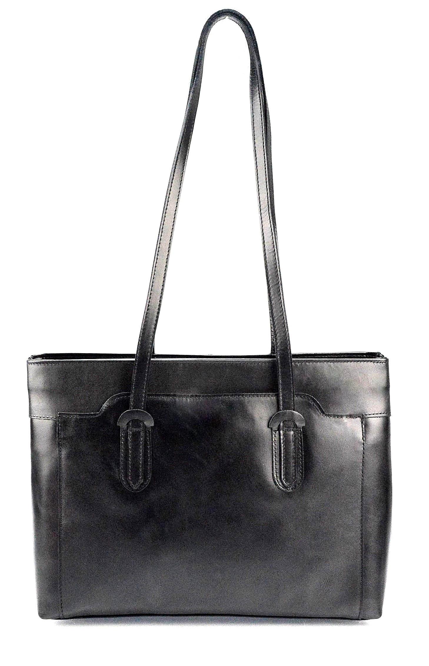 Kožená černá kabelka na rameno Liones