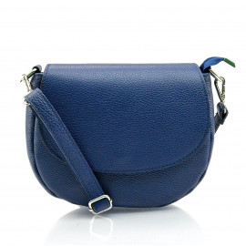 Větší praktická sytě modrá kožená crossbody kabelka Lexie