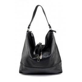 Kožená luxusní černá kabelka přes rameno laurel