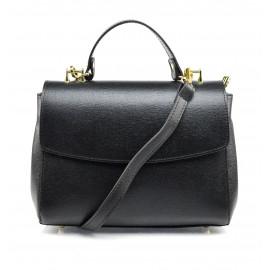 Kožená luxusní menší černá kufříková kabelka joane
