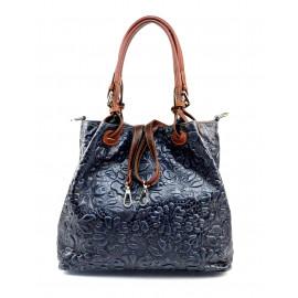 Kožená tmavě modrá kabelka na rameno madeleine two